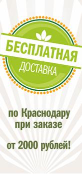 Бесплатная доставка по Краснодару при заказе от 2000 рублей
